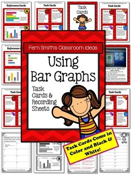 3rd Grade Go Math 2.4 and 2.5 Using and Making Bar Graphs Task Cards Bundle