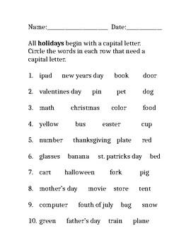 Using capitals (Holidays)