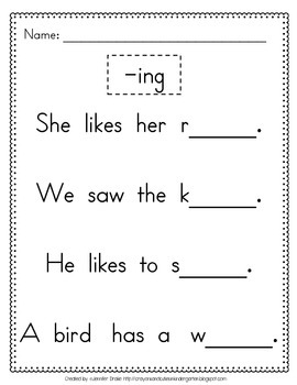 Using '-ing'! Worksheet and Fill in the Blank Book For Working With -ing!