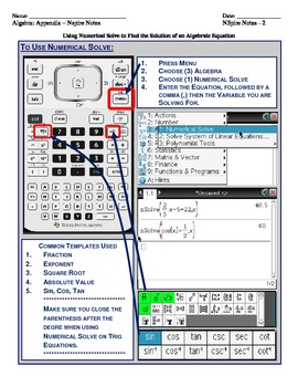 Using numericalSolve on the Texas Instruments N-Spire Graphing Calculator