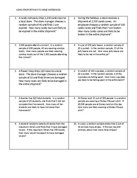 using proportions to make inferences by math worksheet lady  tpt