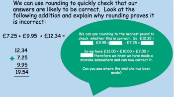 Using rounding to check accuracy of addition calculations