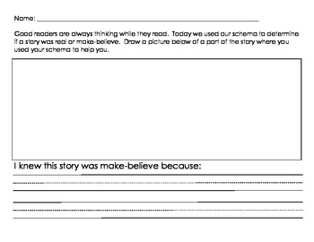Using schema to determine if a story is real or make believe