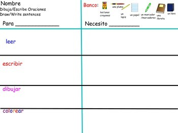 """Using school objects to introduce """"Necesito"""" - Spanish K6"""