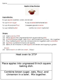 Using sequencing to bake apple crisp