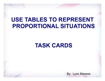 Using tables to represent proportional situations task car