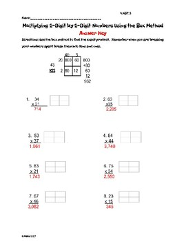 Using the Box Method to Multiply two 2-Digit Numbers