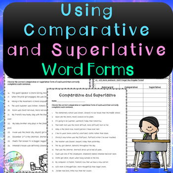 No-Prep - Using the Comparative and Superlative Forms