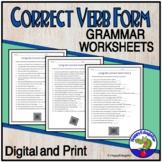 Correct Verb Form Grammar Worksheets - ELA Test Prep