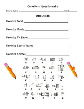 cuneiform worksheets for middle school