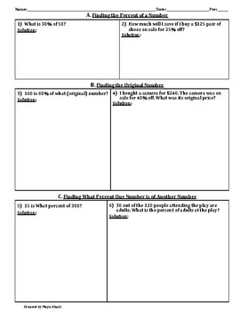 Using the Decimal Equivalent to Find Percents Worksheet