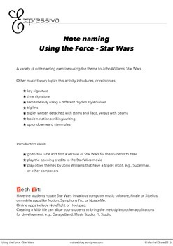 Using the Force - Star Wars Note Naming Activity Sheet