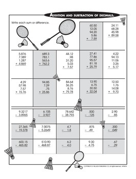 Using the Four Operations on Multi-Digit Decimals 1 (CCSS 6.NS.B.3)