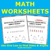 Using the Law of Sines to Find Missing Sides and Angles Riddle Worksheet