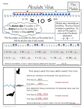 Using the Number Line:  Absolute Value (Mini Module)