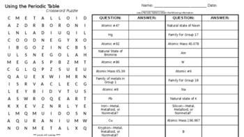 Using the Periodic Table Crossword Puzzle