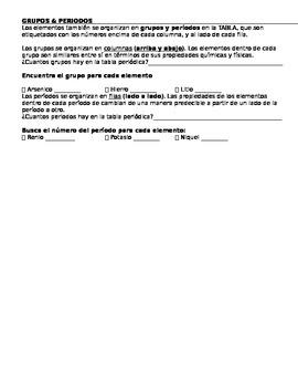 Using the Periodic Table (DUAL LANGUAGE SPANISH)