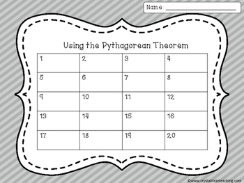 Using the Pythagorean Theorem Task Cards