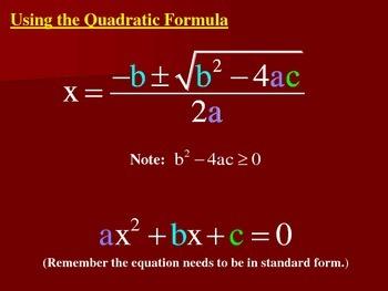 Using the Quadratic Equation