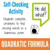 Using the Quadratic Formula Fun Activity