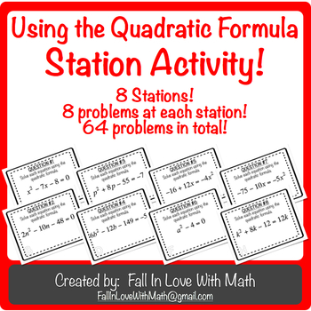 Using the Quadratic Formula Station Activity!