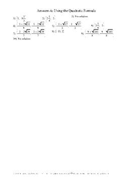Using the Quadratic Formula - scaffolded, step-by-step appoach