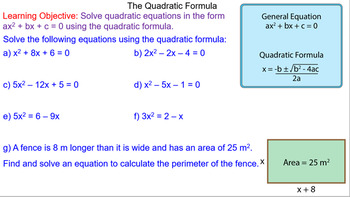 Using the Quadratic Formula to Solve Equations