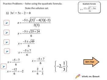 Using the Quadratic Formula to Solve Quadratic Equations