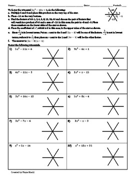 using the star method to factor trinomials worksheet by maya khalil. Black Bedroom Furniture Sets. Home Design Ideas