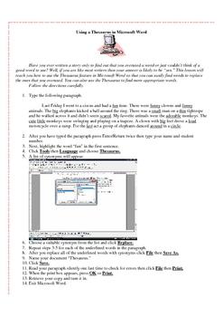 Using the Thesaurus in Microsoft Word