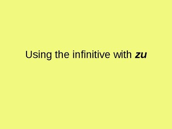 """Using the infinitive with """"zu"""""""