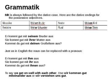 "Using the preposition ""mit"""