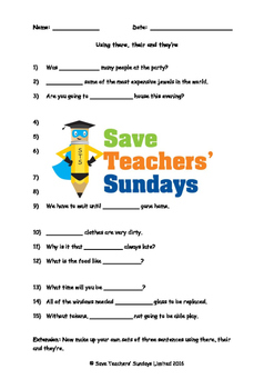 Using There, Their and They're Worksheet and Explanation