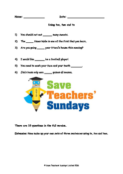 Using To, Too and Two Worksheet