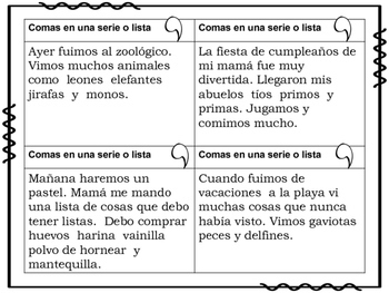 Uso de la coma Posters y Actividades/ Comma rules Spanish Posters and activities
