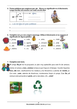Spanish: worksheet to learn and practice the use of the letters g & j in Spanish
