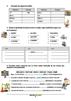 Spanish: worksheet to learn & practice the use of the letters ll & y in Spanish
