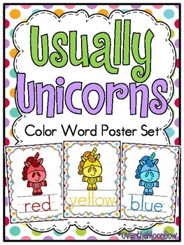 Usually Unicorns | Color Words Poster Set