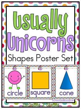 Usually Unicorns | Shapes Poster Set