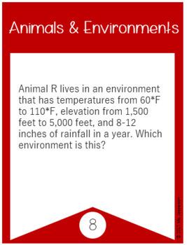 Utah Animals and Environments Task Cards