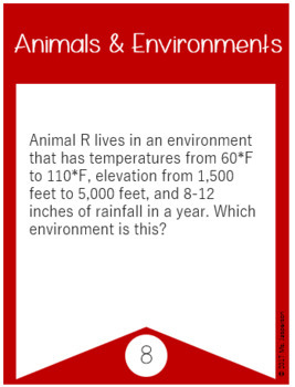 Utah 4th Grade Science Animals and Environments Task Cards