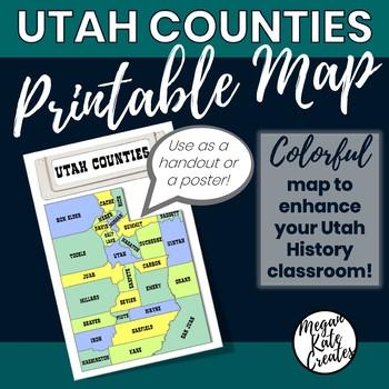 Utah Counties Printable Map