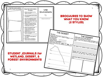 Utah Environments BUNDLE (Forest, Wetland, Desert) w/ PPT, Activities, & Journal