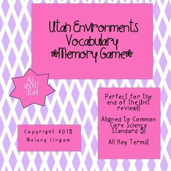 Utah Environments Vocabulary Memory Game