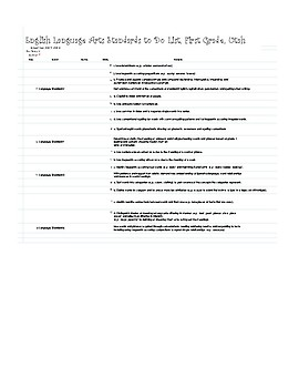 Utah First Grade Common Core Check List Printable