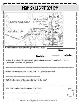 Utah Map Skills Practice