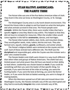 Utah Native Americans: The Paiute Tribe