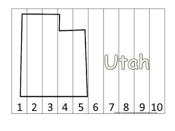 Utah Number Sequence Puzzle.  Learn the States preschool p