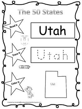 Utah Read it, Trace it, Color it Learn the States preschool worksheeet