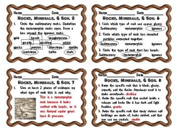 Utah 4th Grade Rocks, Minerals, & Soil Daily Review Slips